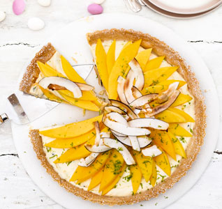 Passion fruit & mango tart