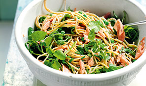 Watercress, pea and hot-smoked trout spaghetti