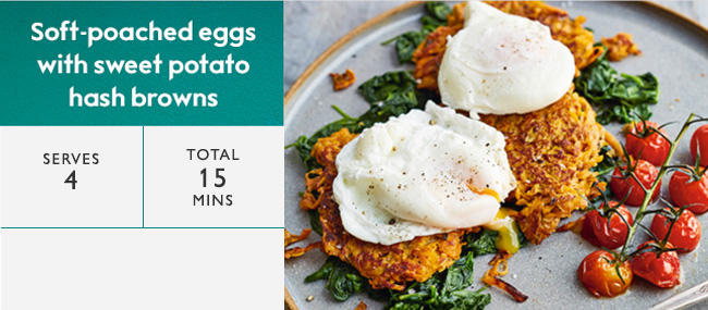 poached eggs with sweet potato hash browns
