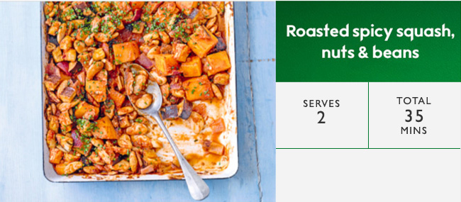 Roasted spicy squash, nuts & beans