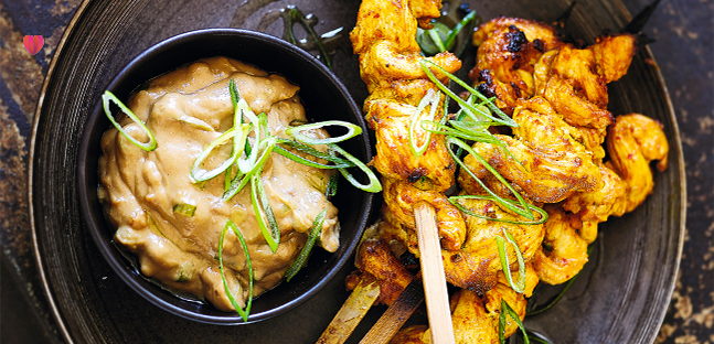 Classic spicy chicken satay