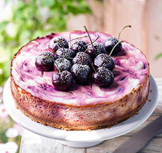 Baked cherry swirl cheesecake