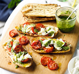 Burrata with roast tomatoes and pesto