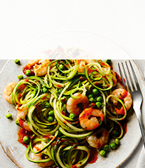 Prawns with courgette & 'nduja