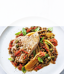 Pot-roasted tuna and tomatoes recipe
