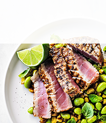 Blackened tuna with succotash