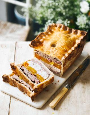 Pork, chicken & apricot pie