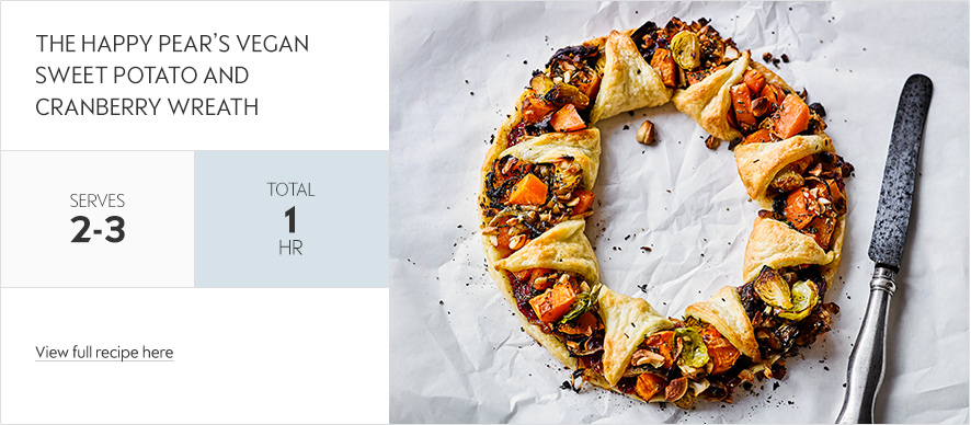 Vegan sweet potato & cranberry wreath