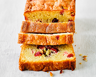 Cranberry and orange drizzle loaf cake