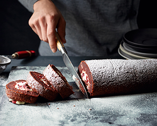 Beetroot & dark chocolate yule log