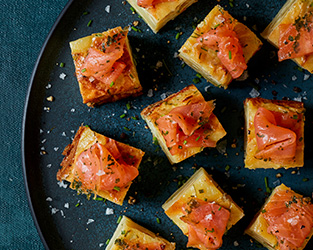 Tortilla bites with truffle smoked salmon