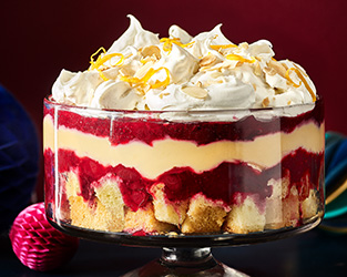 Cranberry, orange and juniper trifle
