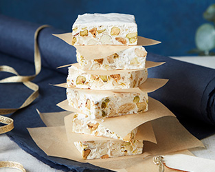 Pistachio and orange blossom nougat