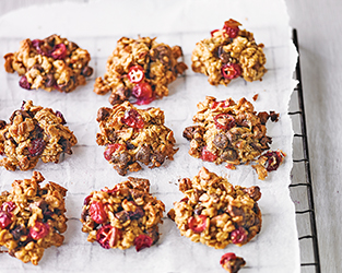 Cranberry, pecan, oat & chocolate chip cookies