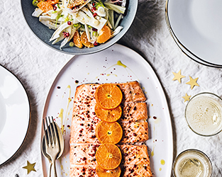 Clementine & Cointreau baked salmon with fennel, clementine & ginger salad