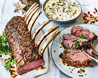 Rack of venison with a dried mushroom crust and mushroom sauce