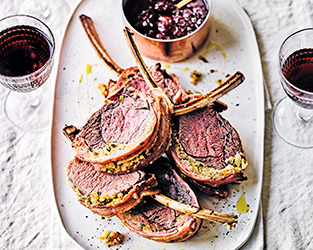 Rosemary-stuffed rack of venison with forest fruit compote