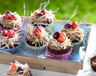 Beetroot chocolate cupcake nests