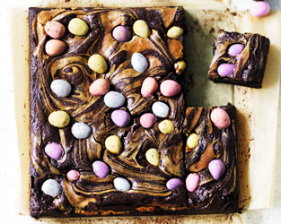 Swirled Easter brownies