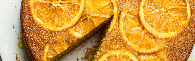 Upside-down orange and olive oil cake
