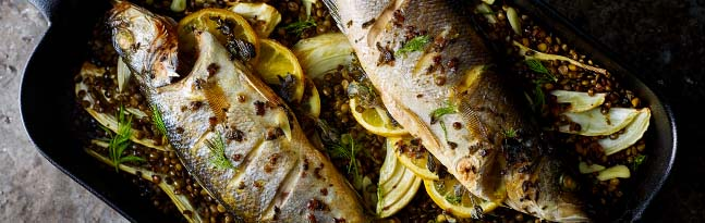 Salmon and buckweat noodle bowls with avocado and shiitake mushrooms