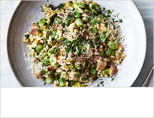 Mint, broad bean and bacon risotto