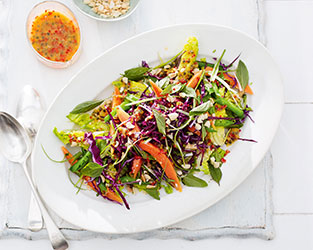 Crunchy papaya salad with fiery passion fruit dressing