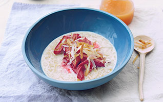 Coconut rice with rhubarb and ginger