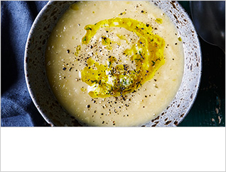 Leek and roasted garlic soup