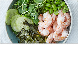 Broad bean, prawn and brown rice bowls