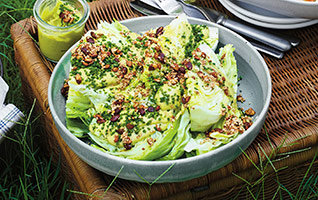 Iceberg wedges with avocado & crunchy seeds