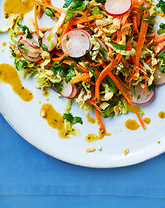 Radish and lettuce slaw with peanut-ginger dressing