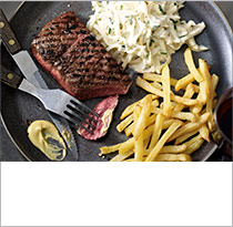 Steak and chips with celeriac remoulade