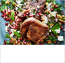 Lamb chops, pomegranate & feta
