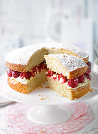 Victoria sponge with raspberry jam and buttercream