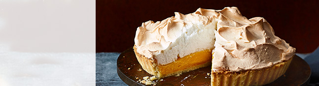 Passion fruit and lemon meringue pie