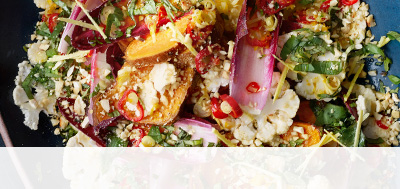 Winter salad with spicy Seville orange dressing