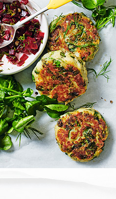 Cod, crab & watercress fishcakes with beetroot salsa