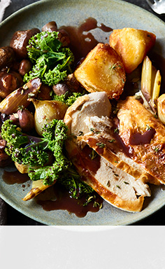 Rouge roast chicken with mushrooms