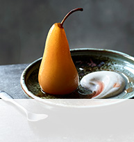 Vanilla and rosé-poached pears