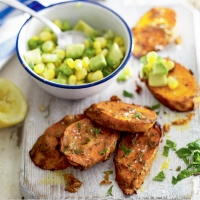 Curried sweet potato with sweetcorn and avocado salsa