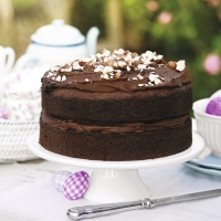 Date and hazlenut chocolate fudge cake