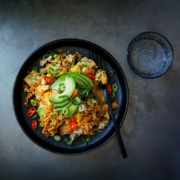 Kimchi-fried rice with crab & avocado