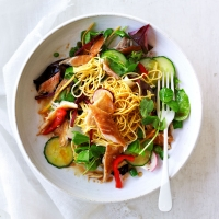 Mackerel noodle salad with citrus-soy dressing