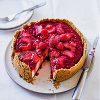 Martha Collison's baked vanilla cheesecake with raspberry & rhubarb