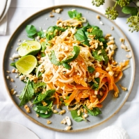 Peanut-dressed noodle salad with carrot & herbs