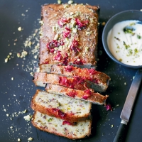 Pistachio, lemon & rose drizzle cake with rose cream
