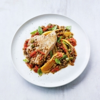 Pot-roasted tuna & tomatoes