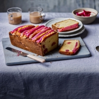Rhubarb and cardamom custard cake