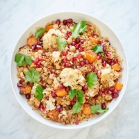 Roasted butternut and cauliflower pilaf